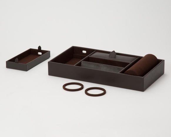 WOLF Blake Valet Tray With Watch Cuff Brown 306406