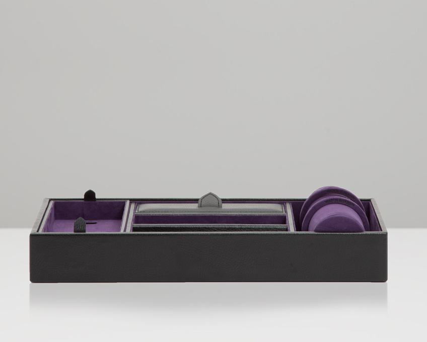WOLF Blake Valet Tray With Watch Cuff Black - Purple 306428