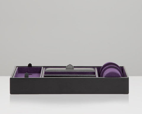 WOLF 306428 Blake Valet Tray With Watch Cuff Black Pebble Leather Purple Lining