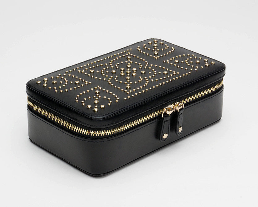 WOLF 308602 Marrakesh Black Zip Case With Studded Mosaic Design