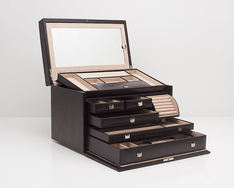 WOLF 315006 London Cocoa Large Jewelry Box With Mini Traveller