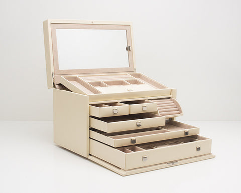 WOLF 315053 London Cream Large Jewelry Box With Mini Traveller