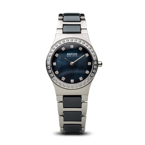 BERING Ceramic Polished Silver Two-Tone Swarovski Markers Women's Dress Watch 32426-707