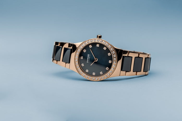 BERING Ceramic 26mm Polished Rose Gold Crystals Blue Dial Women's Watch 32426-767