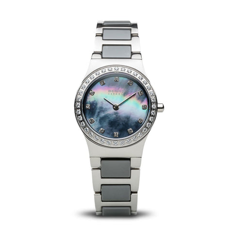 BERING Ceramic 26mm Polished Silver Case Crystal Bezel Women's Watch 32426-789