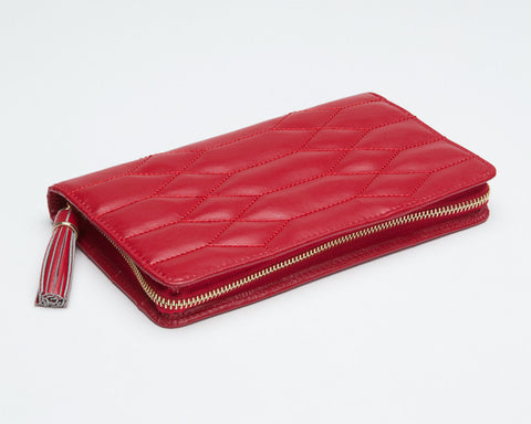 WOLF 324872 Caroline Jewelry Portfolio Red Quilted
