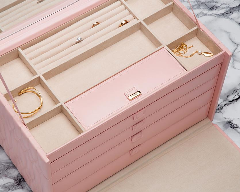 WOLF 329515 Caroline Rose Quartz Extra Large Jewelry Case