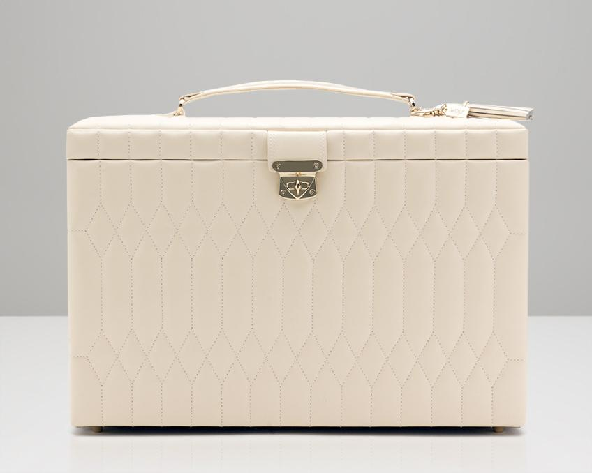 WOLF 329553 Caroline Cream (Ivory) Quilted Extra Large Jewelry Case