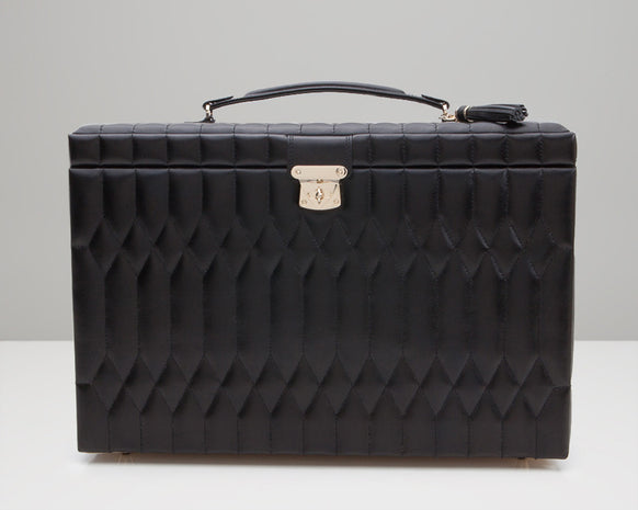 Wolf 329571 Caroline Black Quilted Extra Large Jewelry Case