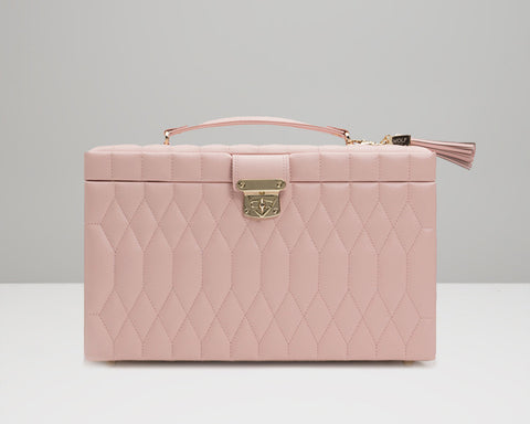 WOLF 329615 Caroline Quilted Rose Quartz Large Jewelry Case