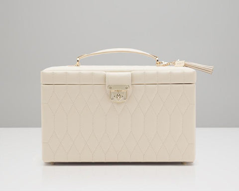WOLF 329653 Caroline Cream Quilted Large Jewelry Case
