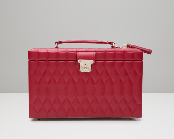 Wolf 329672 Caroline Red Quilted Large Jewelry Case