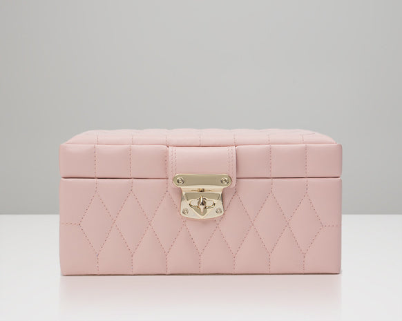 WOLF 329815 Caroline Quilted Rose Quartz Small Jewelry Case