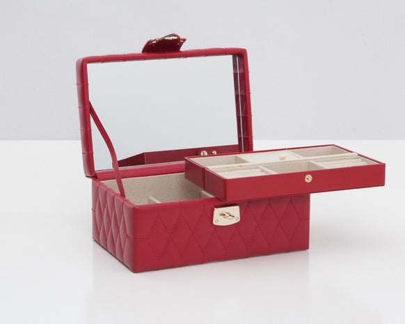 Wolf 329872 Caroline Red Quilted Small Jewelry Case