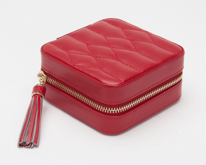 WOLF 329972 Caroline Red Zip Travel Jewelry Case