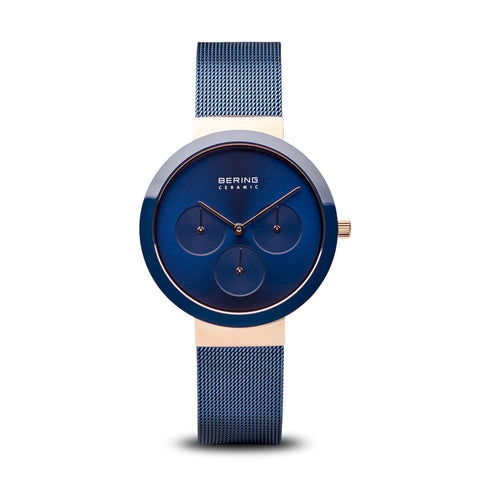 BERING Ceramic 36mm Blue Mesh Band Classic Multifunction Women's Watch 35036-367