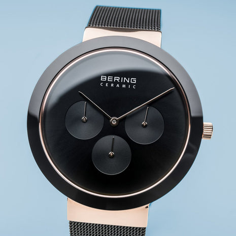 BERING Ceramic 40mm Black Mesh Band Classic Multifunction Men's Watch 35040-166