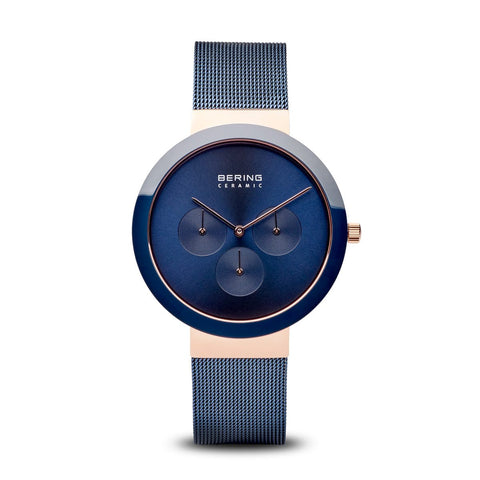 BERING Ceramic 40mm Blue Mesh Band Classic Multifunction Men's Watch 35040-367