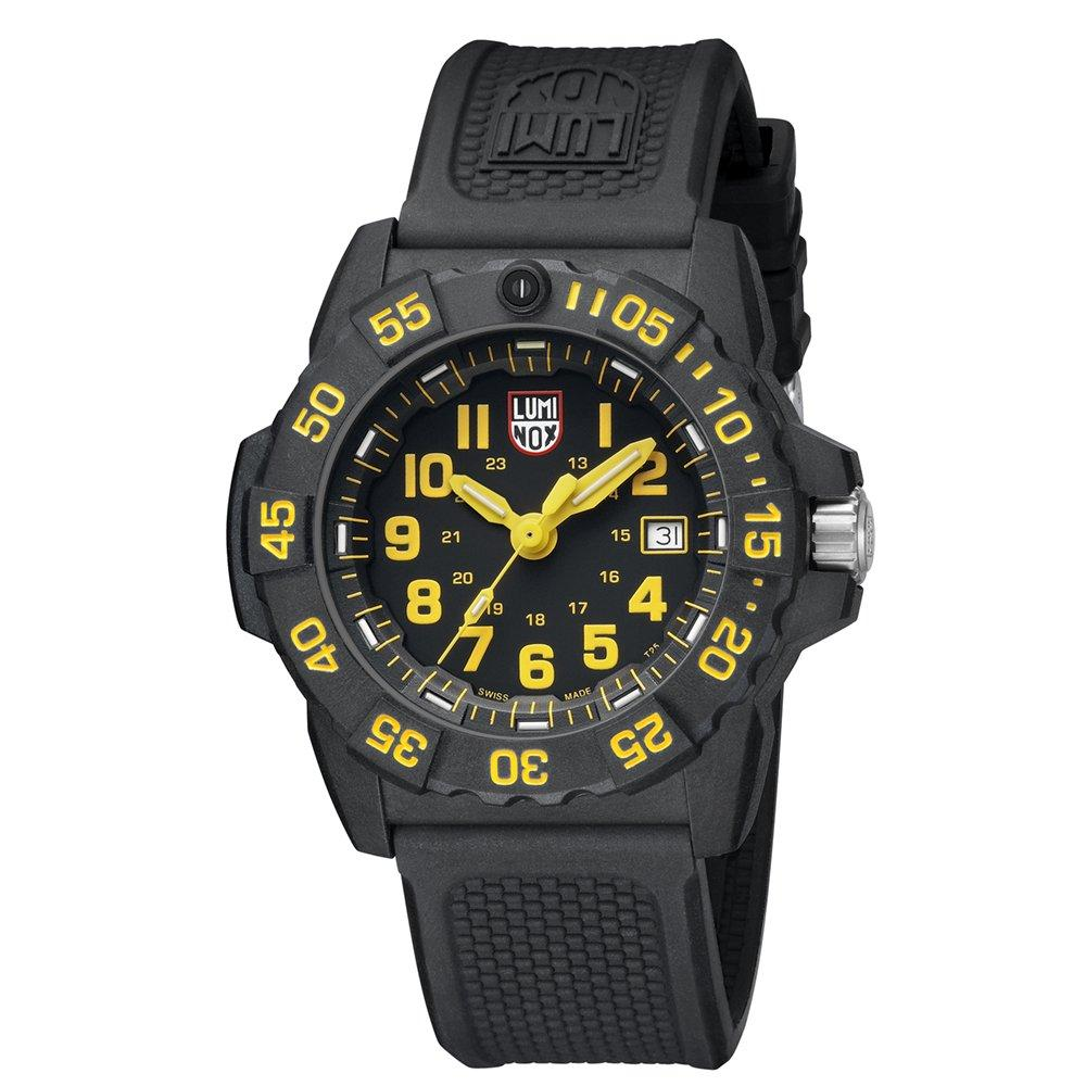 Luminox Navy SEAL Carbon Case Yellow Indices Black Strap Men's Watch XS.3505.L