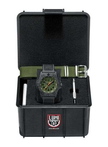 Luminox Navy SEAL Carbon Case Green Dial Black Strap Men's Watch XS.3517.NQ.SET