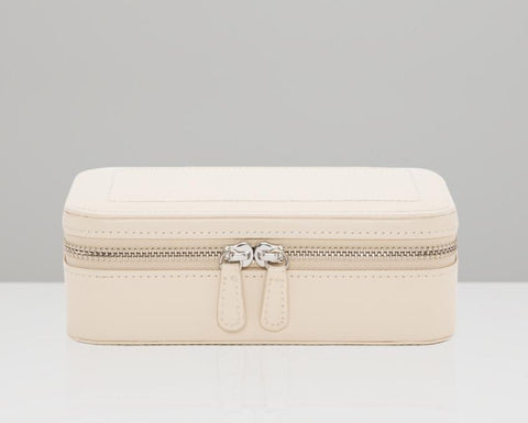WOLF Sophia Ivory Leather Travel Zip Jewelry Case 392253