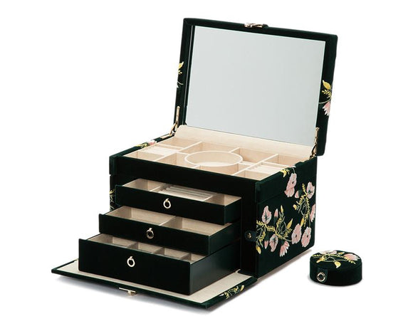 WOLF Zoe Large Jewelry Case Forest Green Velvet Floral Embroidery 393012