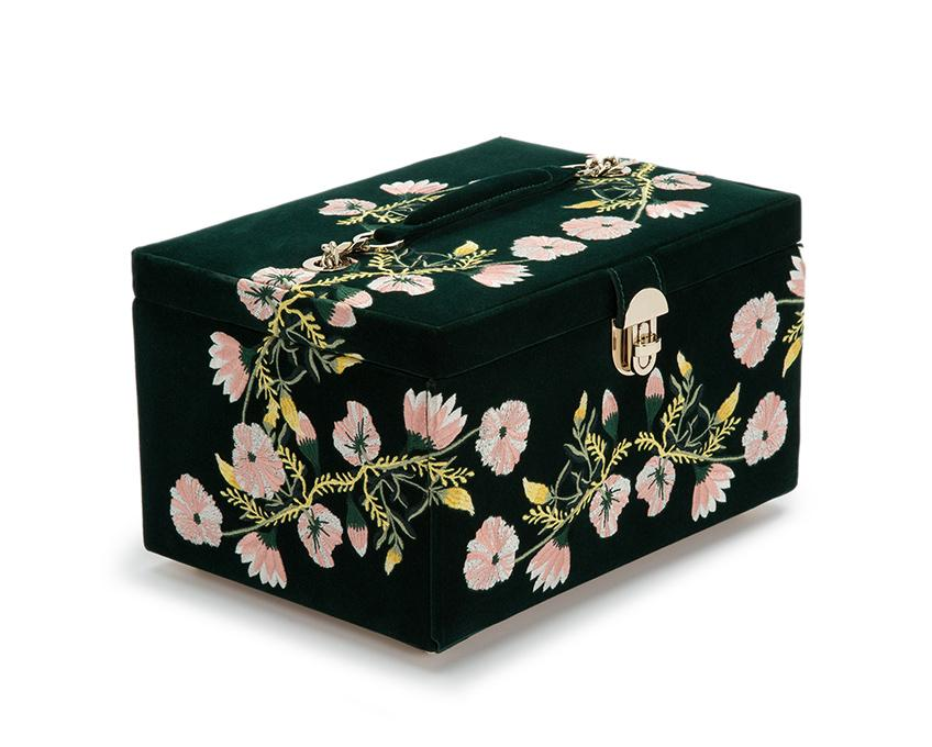 WOLF Zoe Medium Jewelry Case Forest Green Velvet Floral Embroidery 393112