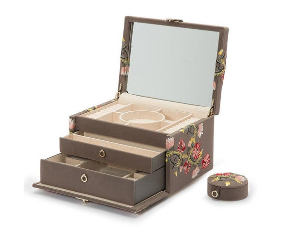 WOLF Zoe Medium Jewelry Case Mink Velvet Floral Embroidery 393113