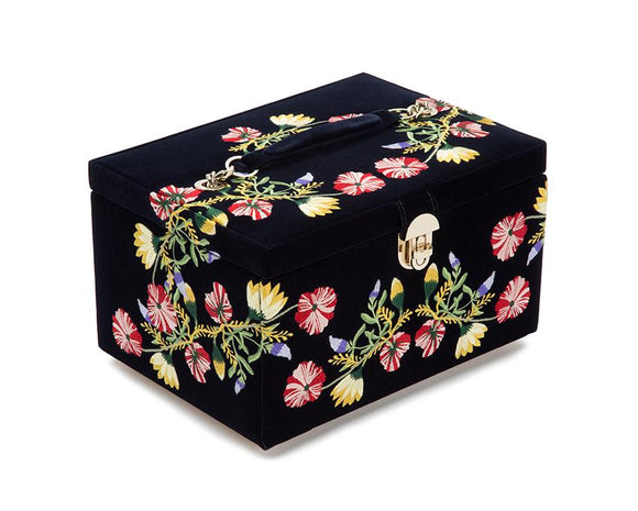 WOLF Zoe Medium Jewelry Case Indigo Velvet Floral Embroidery 393116