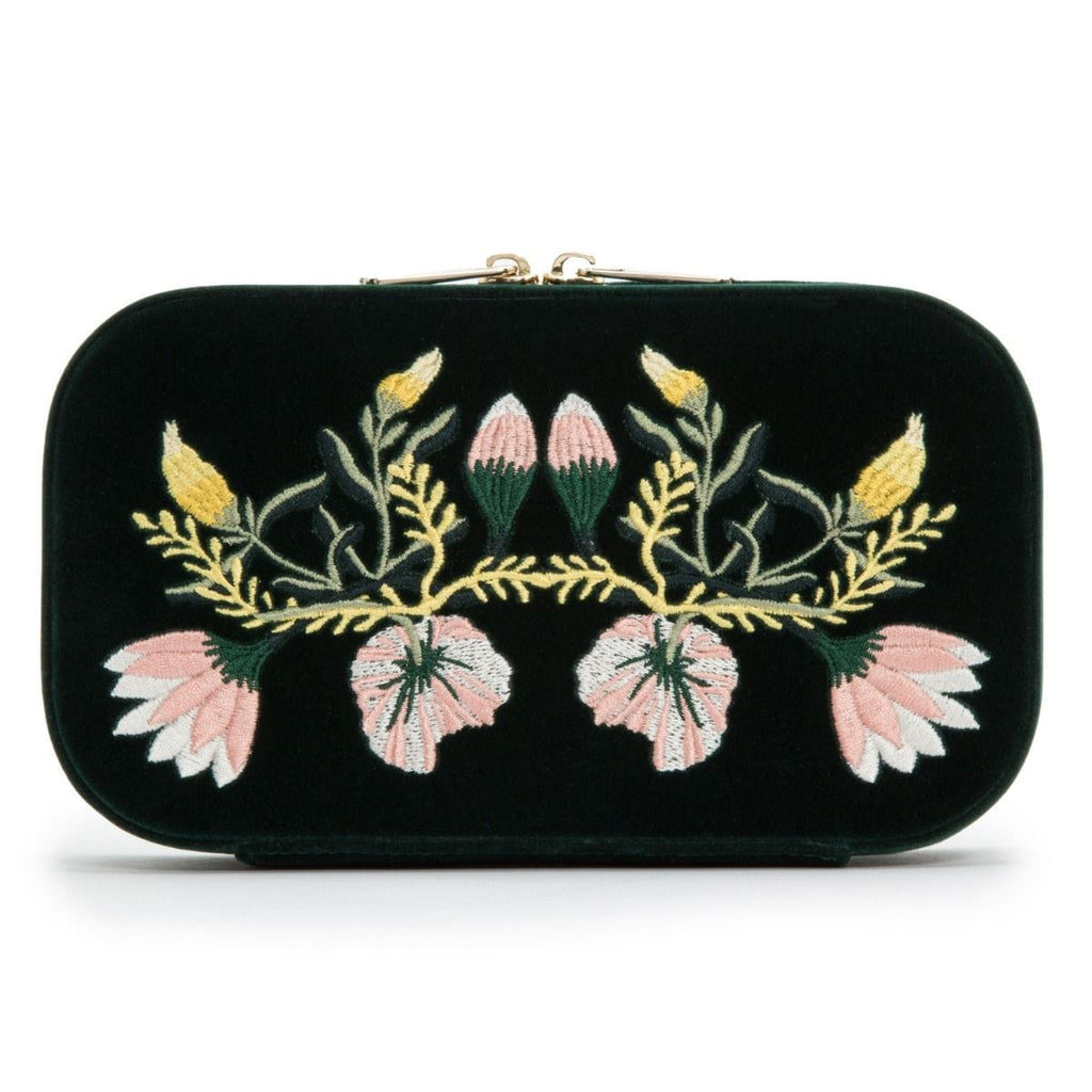 WOLF Zoe Travel Zip Case Forest Green Velvet Floral Embroidery 393312