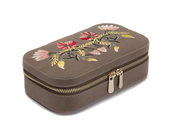 WOLF Zoe Travel Zip Case Mink Velvet Floral Embroidery 393313