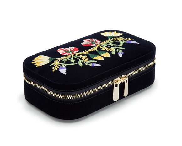 WOLF Zoe Travel Zip Case Indigo Velvet Floral Embroidery 393316