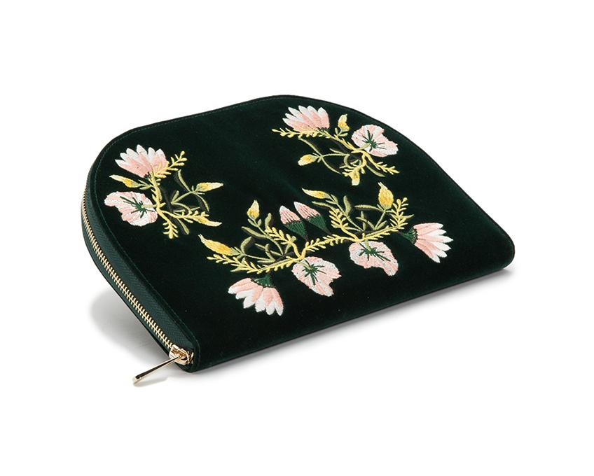 WOLF Zoe Travel Jewelry Portfolio Forest Green Velvet Floral Embroidery 393412