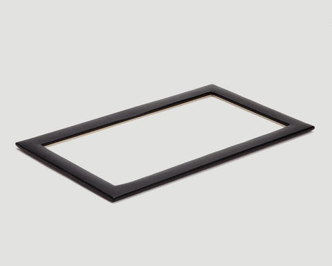 WOLF Vault Tray Glass Lid Black Leather Finish 435302