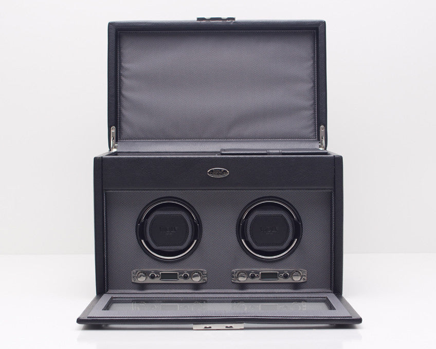 WOLF 456202 Viceroy Double Watch Winder Black With Storage And Travel Case