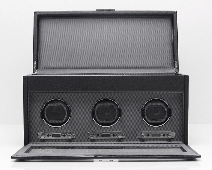 WOLF 456302 Viceroy Triple Watch Winder Black With Storage And Travel Case
