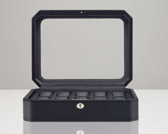 Wolf 4584029 Windsor 10 Piece Watch Box Glass Cover Black Pebble Faux Leather