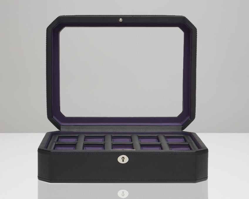 Wolf 458403 Windsor 10 Piece Watch Box Glass Cover Black/Purple