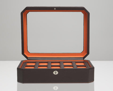 Wolf 458406 Windsor 10 Piece Watch Box Glass Cover Brown Pebble Faux Leather