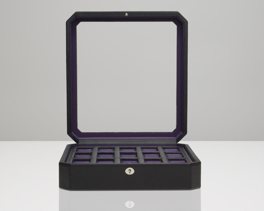 Wolf Designs 458503 Windsor 15 Piece Watch Box Black/Purple Faux Leather