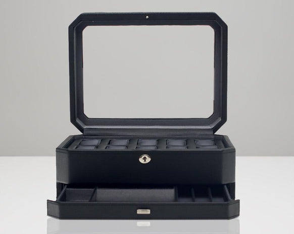Wolf 4586029 Windsor 10 Piece Watch Box with Drawer Black