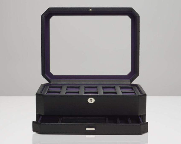 Wolf 458603 Windsor 10 Piece Watch Box with Drawer Black/Purple