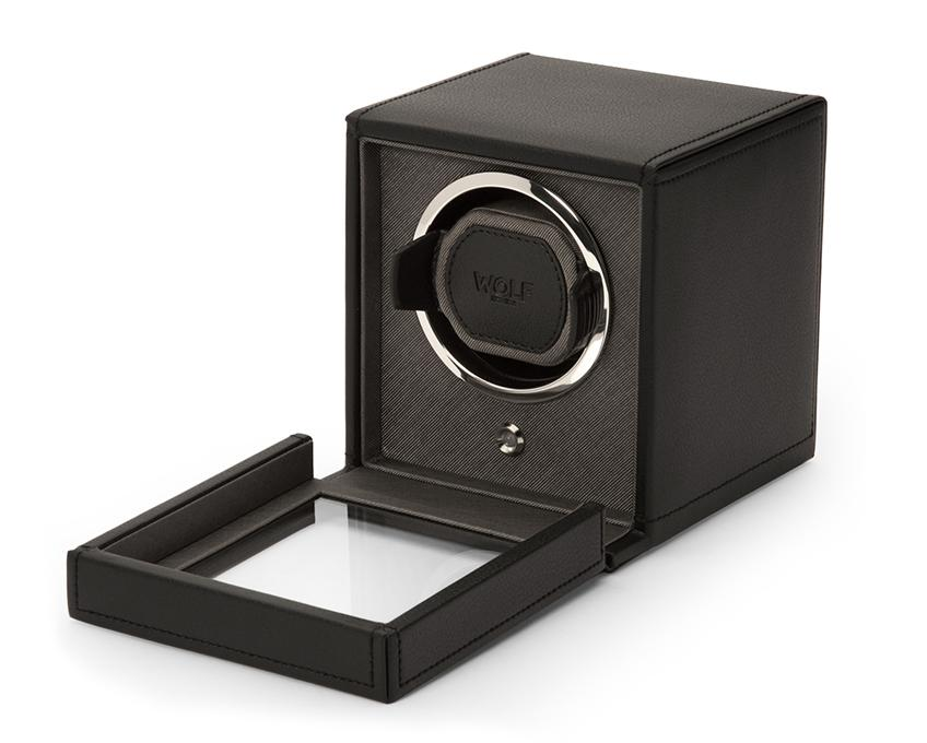 WOLF Cub Black Watch Winder With Glass Cover 461103