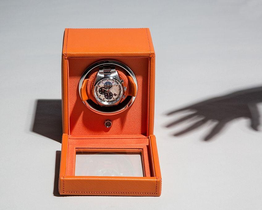 WOLF Cub Orange Watch Winder With Glass Cover 461139