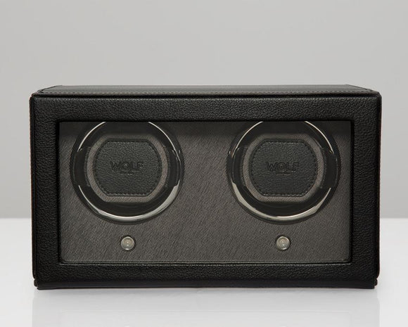 WOLF Double Black Cub Watch Winder With Glass Cover 461203
