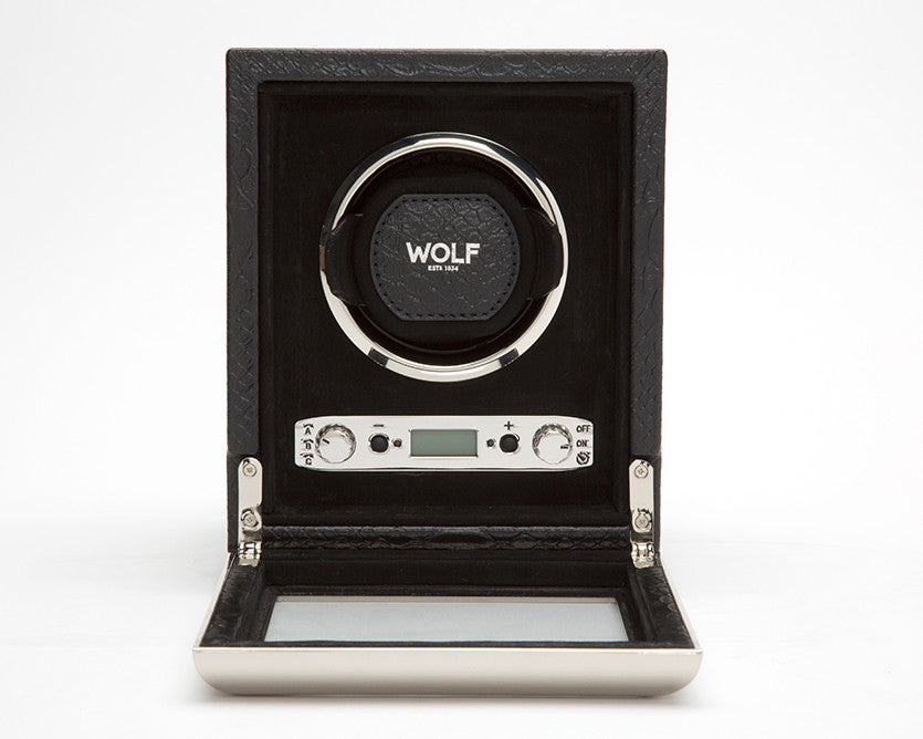 WOLF 461720 Exotic Single Watch Winder Black Python-Embossed Leather