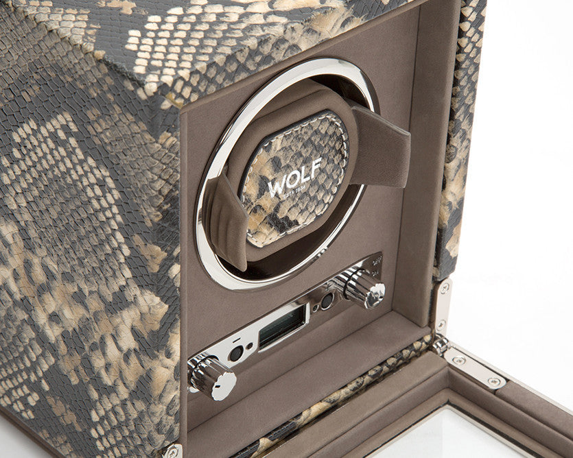 WOLF 461722 Exotic Single Watch Winder Tan Python-Embossed Leather