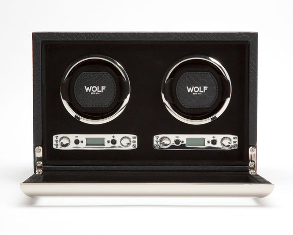 WOLF 461820 Exotic Double Watch Winder Black Python-Embossed Leather