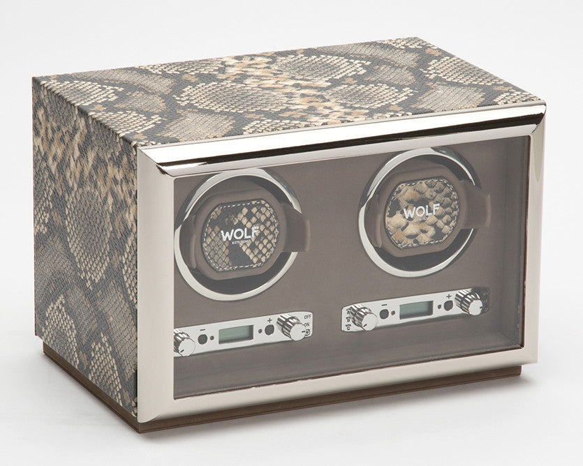 WOLF 461822 Exotic Double Watch Winder Tan Python-Embossed Leather