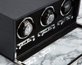 WOLF 461920 Exotic Triple Watch Winder Black Python-Embossed Leather